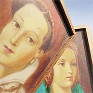*PAIRE DE CADRES TABLEAUX FEMMES - Peinture Portait Femme Tableau Gouache - Gouaches
