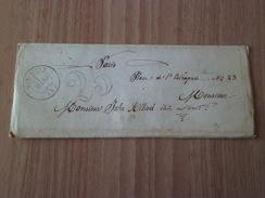 Lettre De Méximieux Le 1 Mars 1854 Pour Paris Le 02 Mars 1854 Cachet Ligne De Lyon Le 1 Mars 1854  Taxée à 25 C    B/TB - 1849-1876: Periodo Classico