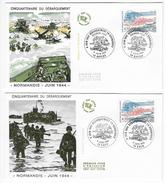 """Enveloppes  1er Jour FDC .1994  2 Enveloppes """"Cinquantenaire Du Débarquement"""" - FDC"""