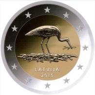 Lettland Latvia 2015 2 Euro Gedenkmünze Storch UNZ UNC  Münze  Coin From Mint Roll - Lettonie