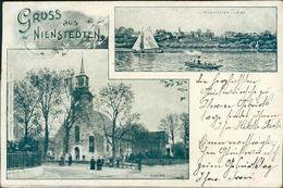 AK Hamburg-Nienstedten, Ansicht V. D. Elbe, Kirche, O 1903, Ecken Mit Druckstellen Vom Album (5555) - Altona