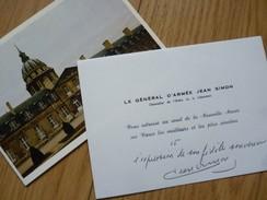 GENERAL Jean SIMON (1912-2003) COMPAGNON LIBERATION - Légion Etrangère - Algérie Indochine - AUTOGRAPHE - Autographs