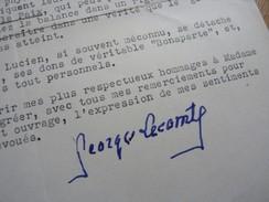 Georges LECOMTE (1867-1958) Romancier ACADEMIE FRANCAISE - AUTOGRAPHE - Autographes