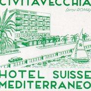 VIEILLE ETIQUETTE AUTOCOLLANTE HOTEL SUISSE MEDITERRANEO CIVITAVECCHIA PRES ROMA ITALIE - Etiquettes D'hotels