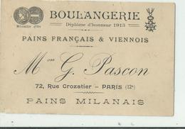 75 Carte De Visite Boulangerie , Pains , Rue Crozatier ,dim 120 X80 - Cartoncini Da Visita