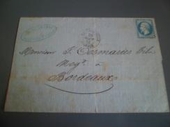 Pli De Philippeville ( 5055) Le 20 Septembre 1865 Pour Bordeaux Par Marseille à Lyon Le 22/09 Bordeaux Le 23/09 N°22 TB - Marcophilie (Lettres)