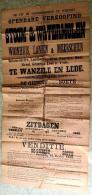 1908 Openbare Verkooping Van Eenen Stoom- & Watermolen Met Woonhuis, Landen & Meerschen Te Wanzele En Lede - Affiches