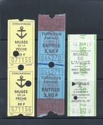 5 Entrance Tickets Museums In France 1977:Musée De Pêche Concarneau,Museum D'Armee And Museum Of Menhires/tumulus Carnac - Tickets - Vouchers