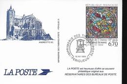 FRANCE  Carte Entier Souvenir  Vitraux Cathedrale Du Mans - Glasses & Stained-Glasses