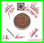 GERMANY  -   MONEDA  DE  1- REICHSPFENNIG  AÑO 1925 G   Bronze - 1 Rentenpfennig & 1 Reichspfennig