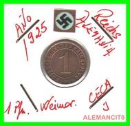 GERMANY  -   MONEDA  DE  1- REICHSPFENNIG  AÑO 1925 J   Bronze - 1 Rentenpfennig & 1 Reichspfennig