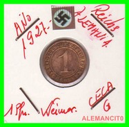 GERMANY  -   MONEDA  DE  1- REICHSPFENNIG  AÑO 1927 G   Bronze - 1 Rentenpfennig & 1 Reichspfennig