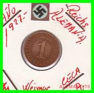 GERMANY  -   MONEDA  DE  1- REICHSPFENNIG  AÑO 1927 A   Bronze - 1 Rentenpfennig & 1 Reichspfennig