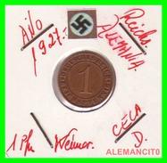 GERMANY  -   MONEDA  DE  1- REICHSPFENNIG  AÑO 1927 D   Bronze - 1 Rentenpfennig & 1 Reichspfennig
