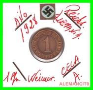 GERMANY  -   MONEDA  DE  1- REICHSPFENNIG  AÑO 1928 A   Bronze - 1 Rentenpfennig & 1 Reichspfennig