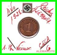 GERMANY  -   MONEDA  DE  1- REICHSPFENNIG  AÑO 1928 G   Bronze - 1 Rentenpfennig & 1 Reichspfennig