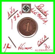 GERMANY  -   MONEDA  DE  1- REICHSPFENNIG  AÑO 1929 A   Bronze - 1 Rentenpfennig & 1 Reichspfennig