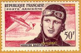 France**LUXE 1955 Pa 34 Vf 50 F. L'aviatrice Maryse Bastié, Née Marie-Louise Bombec (27/2/1898-6/7/1952) 3e Anniversaire - 1927-1959 Ungebraucht