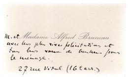 M.et Madame Alfred Bruneau.Carte De Visite Manuscrite.Félicitations à  Claude Gevel (né Weil)vers 1935. - Autogramme & Autographen