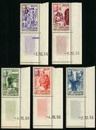 MAROC - YT 369 à 373 ** - SERIE COMPLETE 5 TIMBRES NEUFS ** COIN DE FEUILLE AVEC DATE - Morocco (1956-...)