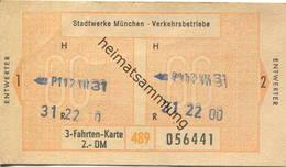 Deutschland - Stadtwerke München - 3 Fahrten-Karte 2.- DM - Bahn