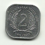 1989 - Caraibi Est 2 Cents, - Monnaies