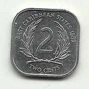 1989 - Caraibi Est 2 Cents, - Monete