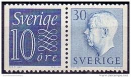 ZWEDEN 1957 30öre Blauw Paar 10+30 Gustaf VI Adolf Type II PF-MNH
