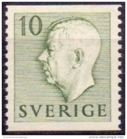 ZWEDEN 1951-1957 10öre Groen Gustaf VI Adolf Type I PF-MNH