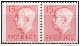 ZWEDEN 1957 15öre Paar Rood Gustaf VI Adolf Type II PF-MNH