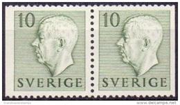 ZWEDEN 1951-1957 10öre Paar Groen Gustaf VI Adolf Type I PF-MNH