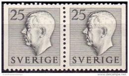 ZWEDEN 1951-1957 25öre Grijs Paar Gustaf VI Adolf Type I PF-MNH