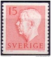 ZWEDEN 1957 15öre Rood Gustaf VI Adolf Type II PF-MNH