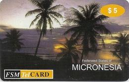Micronesia - FSMTC - Palms At Sunset 1 - FSM-R-001 - 5$ Remote Mem. Used