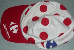 """Rare Casquette Publicitaire Tissu Cyclisme Caravane Du """"Le Tour De France"""" Carrefour Maillot à Pois Meilleur Grimpeur - Casquettes & Bobs"""