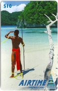 Palau - PNCC Airtime - Man At Beach 10$, Used