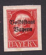 Bavaria, Scott #172, Mint Hinged, King Ludwig III Overprinted, Issued 1919 - Bavière