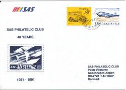 Sweden Cover SAS Philatelic Club 40 Years Anniversary Special Postmark Stockholmflyg 4-9-1991 - Sweden