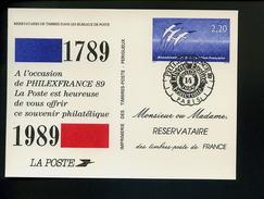 Marcophilie,carte Souvenir Reservataire Des Timbres-poste De France,Philexfrance 89,oiseaux De Folon 2.20 Obl.14.7.1989 - Franz. Revolution
