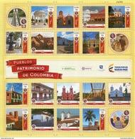 Lote 2016-11P, Colombia, 2016, Pliego, Sheet, Red Turistica De Pueblos Patrimonio, Heritage Tourist  Network Of Villages - Colombia