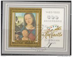 488 Guinea Bissau 1983 Quadro Dipinto Da Raffaello Sanzio Taleaux Paintings Sheet Perf. - Madonna