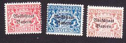 Bavaria, Scott #O24-O25, O31, Mint Never Hinged/Hinged, Coat Of Arms Overprinted, Issued 1918 - Bavaria