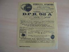 Document Publicitaire L'APPAREIL DE CAMOUFLAGE D.P.R 52 A DEFENCE PASSIVE ZONE OCCUPEE - Automobile