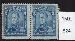 Colombia 1917 5c Blue Bolivar MNH Pair Variety SHEET WATERMARK, SG361 Scott 343.