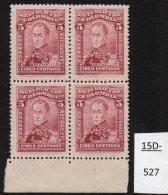 Colombia 1924 Perkins Bacon 5c Claret Bolivar MNH Marginal Block/4 SG 396 Scott 373. - Colombia