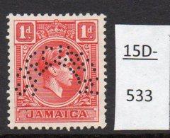 Jamaica Waterlow 1938 1d KGVI Head Perforated SPECIMEN MH SG 122s - Jamaica (...-1961)