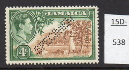 Jamaica Waterlow 1938 4d Citrus Fruit Grove Perforated SPECIMEN MH SG 127s