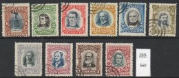 Costa Rica 1907 Used Set/10 (mixed Perforation Types). Between SG 57 And 76. - Costa Rica
