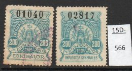 Argentina / Cordoba Province Revenue Fiscal Impuestos Generales 1904 200P Two Singles Used. - Argentina