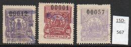 Argentina / Cordoba Province Revenue Fiscal Impuestos Generales 1905 70P, 400P, 500P Used.